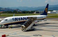 Aircraft companies Ryanair flies up at the airport of Bergamo. Royalty Free Stock Photography
