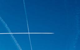 Aircraft contrails in the sky Stock Photo
