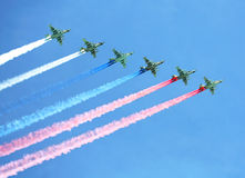 Aircraft contrails with tricolor Royalty Free Stock Photography