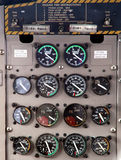 Aircraft control panel display. Control panel display in an aircraft cockpit. 14 meters showing the information of fuel, oil and torque Stock Photos