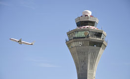 Aircraft And Control Tower Royalty Free Stock Image