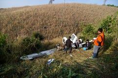 Aircraft crash in mountain Stock Image