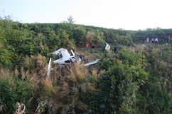 Aircraft crash in mountain Stock Photo