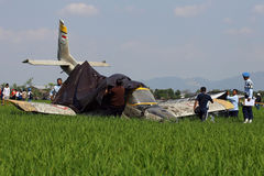 Aircraft crashed Stock Images