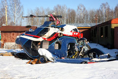 Aircraft - The crashed helicopter Stock Images