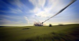 Aircraft crashing Royalty Free Stock Photo