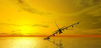 Aircraft crashing in sea Royalty Free Stock Photography