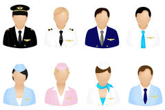Aircraft Crew Icons. Vector. Set Of Aircraft Crew Icons Set, Isolated On White Royalty Free Stock Photo