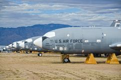 Retired Aircraft at AMARG Boneyard. These aircraft are currently retired at the AMARG Boneyard facility in Tucson, Arizona.  Some will be reconditioned and Royalty Free Stock Images