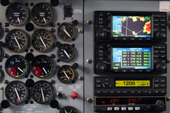 Aircraft dashboard. With levels and screens royalty free stock images