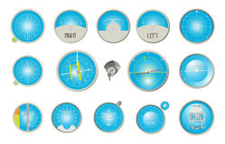 Aircraft dashboard instruments. Collection over white background Royalty Free Stock Photography