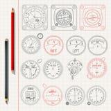 Aircraft dashboard pencil sketch Royalty Free Stock Photos