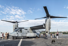 Aircraft on the Deck of the USS Oak Hill during Fleet Week in NY. 2014 Royalty Free Stock Photos