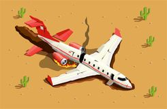 Aircraft Desert Crash Composition. Airplanes helicopters isometric composition with desert landscape and image of fallen passenger aircraft with fire smoke stock illustration