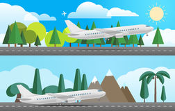 Aircraft in different countries. Flat design Stock Image