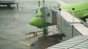 Aircraft docked in Domodedovo International Airport stock video