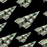 Aircraft dollars seamless pattern. Money banknote paper airplane. Background. Financial ornament Stock Photos