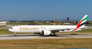 Aircraft. Emirates Boeing 777-300ER accelerate to takeoff at Ataturk Airport on May 26, 2013 in Istanbul, Turkey. Emirates has 199 aircraft fleet with 133 stock image