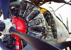 Aircraft Engine. Close up of an engine from a world war 2 era fighter plane Stock Photo