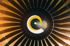 Aircraft engine close-up blades, spiral. Color tone tuned photo. Royalty Free Stock Photos