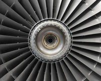 Aircraft Engine Blades. Fan blades of jet aircraft engine stock photos