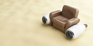 Aircraft engine leather armchair. Beach Royalty Free Stock Image