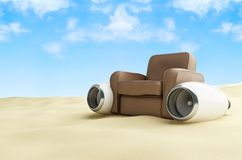 Aircraft engine leather armchair beach Stock Photo