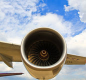Aircraft engine. A part of aircraft engine stock photo