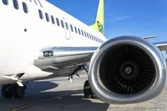 Aircraft engine on passenger plane Royalty Free Stock Photography