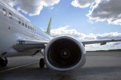 Aircraft engine on passenger plane Royalty Free Stock Photo