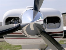 Aircraft Engine and Prop. Twin engine aircraft starboard side power plant stock photo