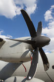Aircraft engine propeller. Five blade military aircraft engine propeller, with a blue sky background stock photography