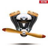 Aircraft engine with propeller. Vector Stock Images
