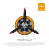Aircraft engine in realistic style. Motor with propeller on white background Stock Photo