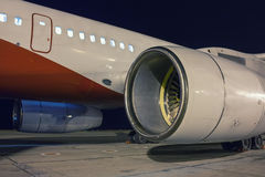Aircraft engines in the night Royalty Free Stock Photos