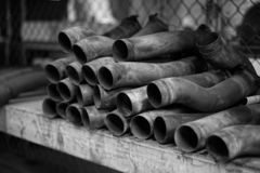 Aircraft Exhaust Pipes Sitting on a Shelf stock photography