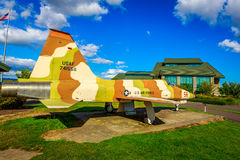 Aircraft Exhibition. McMinnville, Oregon - August 31, 2014: Fighter aircraft Northrop F-5E Tiger II with desert strip on exhibition at Evergreen Aviation & Space stock images