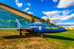 Aircraft Exhibition. McMinnville, Oregon - August 31, 2014: Grumman TF-9J Cougar fighter aircraft in the color of the 'Blue Angels' on exhibition at Evergreen stock image