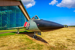 Aircraft Exhibition. McMinnville, Oregon - August 31, 2014: Military fighter aircraft Convair F-106A Delta Dart on exhibition of Evergreen Aviation & Space stock photo