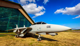 Aircraft Exhibition. McMinnville, Oregon - August 31, 2014: Military fighter aircraft Grumman F-14 Tomcat on exhibition at Evergreen Aviation & Space Museum royalty free stock photography