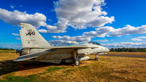 Aircraft Exhibition. McMinnville, Oregon - August 31, 2014: Military fighter aircraft Grumman F-14 Tomcat on exhibition at Evergreen Aviation & Space Museum stock photography