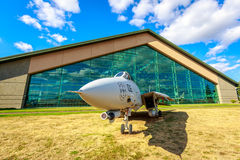 Aircraft Exhibition. McMinnville, Oregon - August 31, 2014: Military fighter aircraft Grumman F-14 Tomcat on exhibition at Evergreen Aviation & Space Museum royalty free stock image