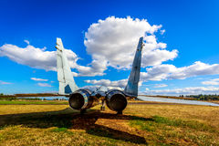 Aircraft Exhibition. McMinnville, Oregon - August 31, 2014: Military fighter aircraft Mikoyan Gurevich MiG-29 'Fulcrum' on exhibition at Evergreen Aviation & royalty free stock image