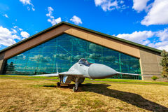 Aircraft Exhibition. McMinnville, Oregon - August 31, 2014: Military fighter aircraft Mikoyan Gurevich MiG-29 'Fulcrum' on exhibition at Evergreen Aviation & royalty free stock images