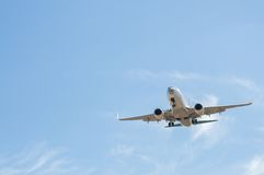 Aircraft on final approach. Southern International Airport of Tenerife royalty free stock photography