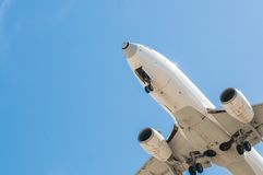 Aircraft on final approach. Southern International Airport of Tenerife royalty free stock images