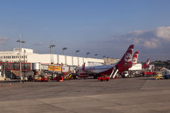 Aircraft at the finger Royalty Free Stock Photo