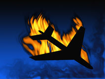 Aircraft in fire Royalty Free Stock Photo