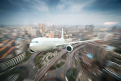 The aircraft flew over the city Royalty Free Stock Images