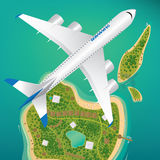Aircraft flies over few tropical islands Royalty Free Stock Image